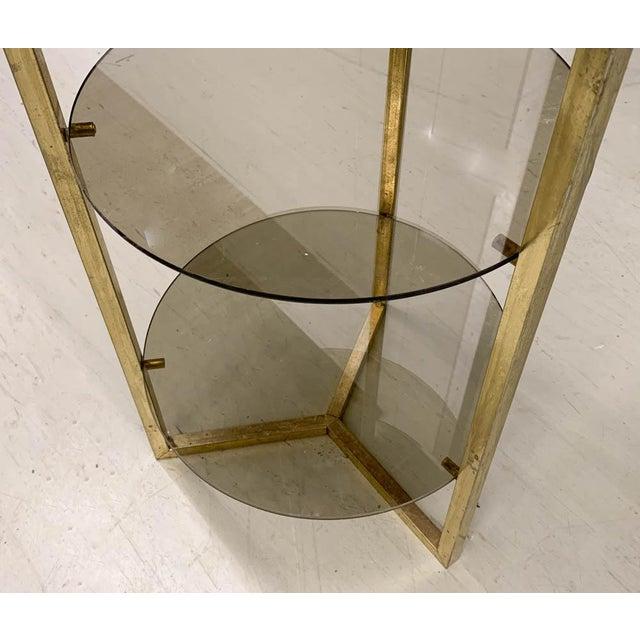 Mid Century Brass 5 Shelf Etager- Vertical Shelving For Sale - Image 4 of 6