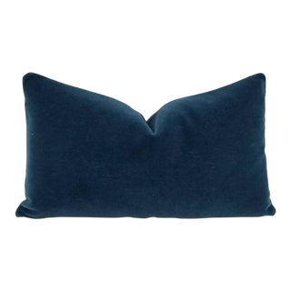 F. Schumacher San Carlo Mohair Velvet Delft Lumbar Pillow Cover For Sale