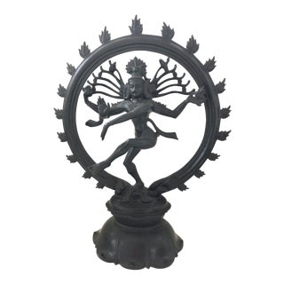 South India Brass Garden Statue Metal Nataraj Shiva Dance Black Antique Vintage Large For Sale