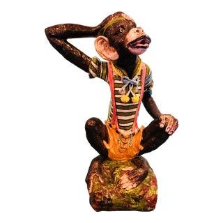 Rare Terra Cotta Hand Painted Dressed Monkey Statue