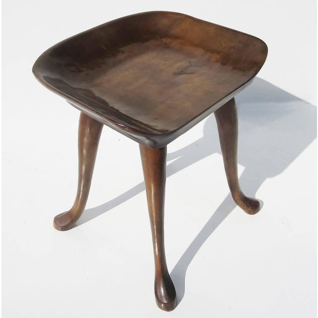 Jean of Topanga 1960s Free-Form Carved Walnut Stool by Jean of Topanga For Sale - Image 4 of 4