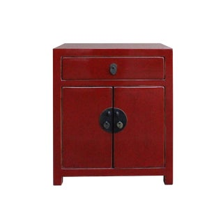 Chinese Red Lacquer Moonface End Table Nightstand
