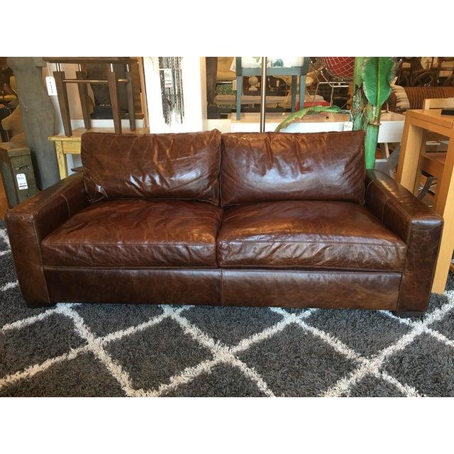 Restoration Hardware Petite Maxwell Leather Sofa - Image 2 of 9