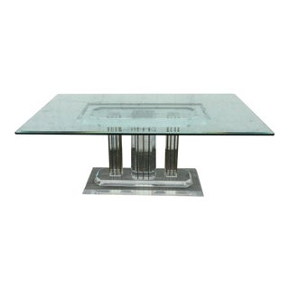 Mid Century Lucite Acrylic Plexiglass Brass Glass Top Desk Dining Table For Sale