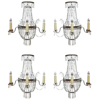 19th C. French Crystal Sconces For Sale