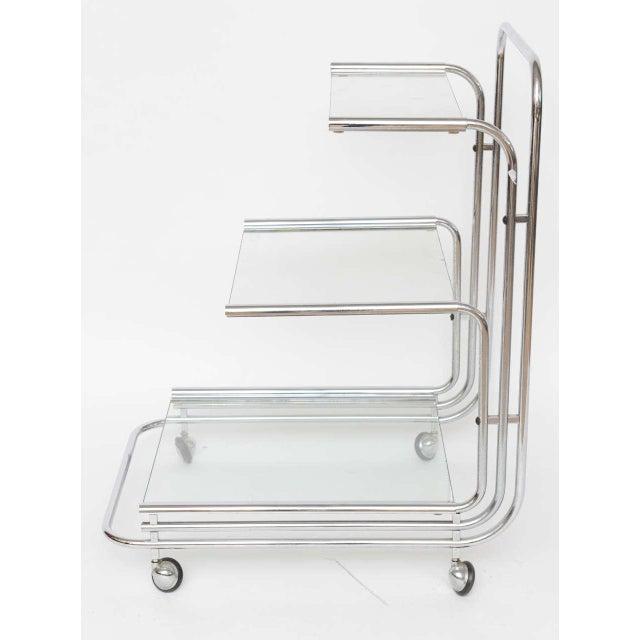 Bauhaus Fontana Arte Chrome Bar Cart For Sale - Image 3 of 10