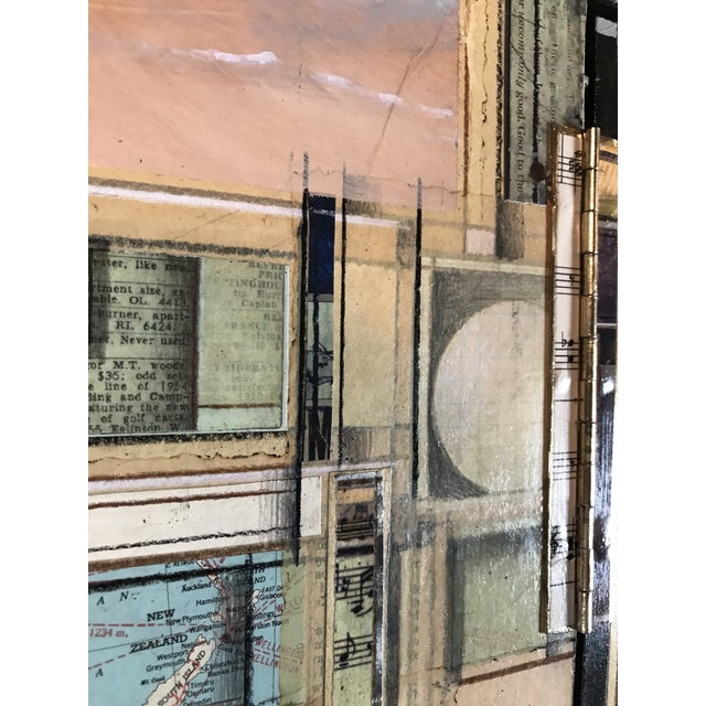 """Wood Mixed Media Collage Collagraph Painting by Roderick Slater """"Between Two Points"""" For Sale - Image 7 of 13"""