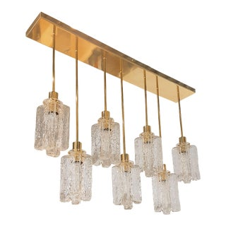 D'Lightus Bespoke Murano textured clear glass pendant brass flush mount light