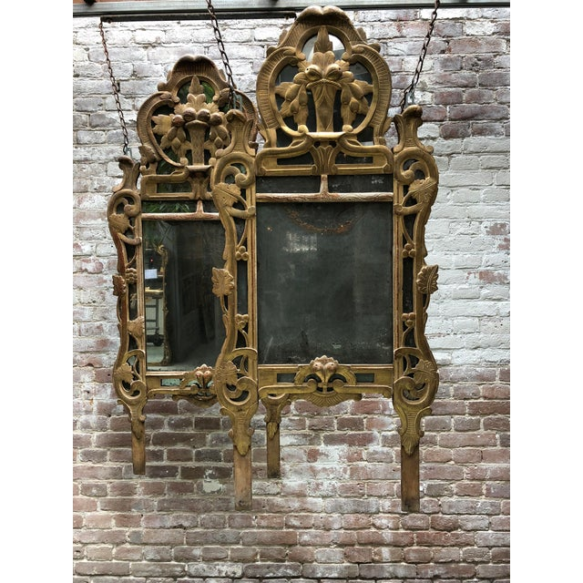 18th Century Louis XV Carved Gilt Wood Mirrors, Exceptionnel Set of Three. For Sale - Image 6 of 13