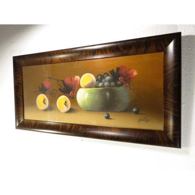Older 19th century signed Hobbs still life painting. This piece appears to be done in pastels on paper. The frame is solid...