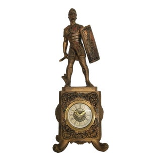 Vintage Italian Molded Resin Gladiator Case With West German Clock For Sale