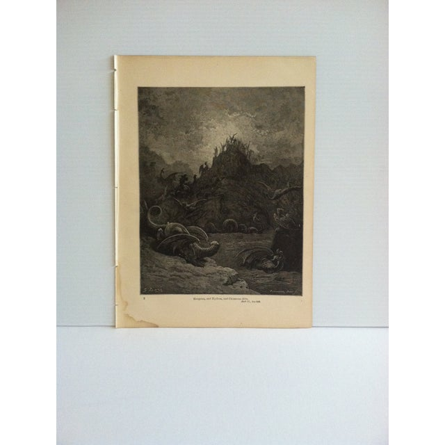 "Antique Paradise Lost Print, ""Gorgons - and Hydras - Chimeras Dive"", Circa 1940 For Sale - Image 4 of 4"