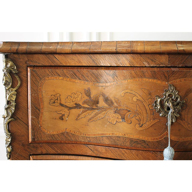 Bronze 20th Century Louis XV Style Inlay Commode with Bronze Mounts For Sale - Image 7 of 13