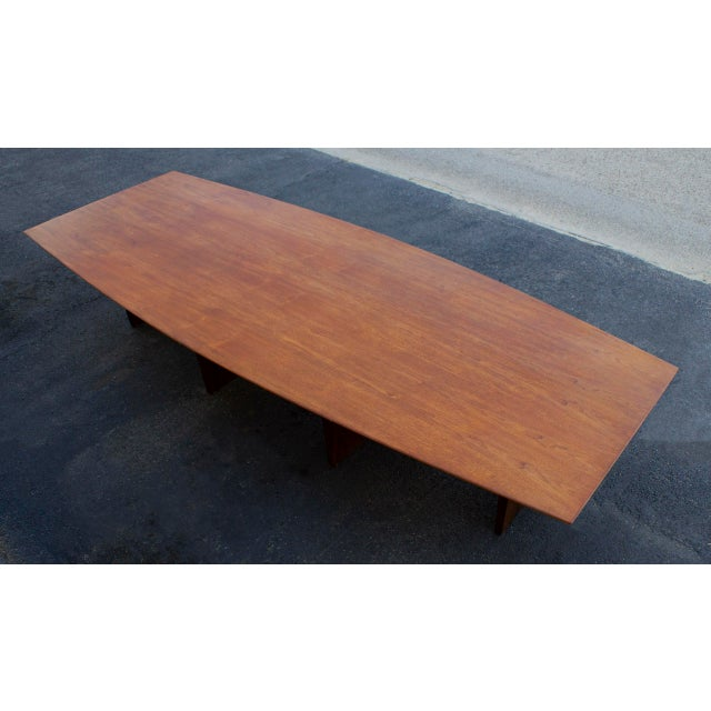 Brown Massive Edward Wormley for Dunbar Walnut and Mahogany Dining / Conference Table For Sale - Image 8 of 12