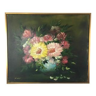 "Vintage Flowers & Vase Oil Painting, Signed ""Diniel"" For Sale"