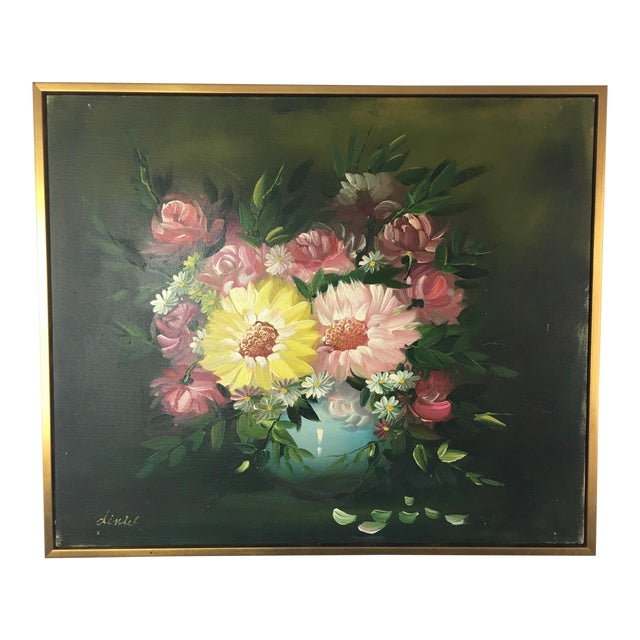 Vintage Flowers Vase Oil Painting Signed Diniel Chairish