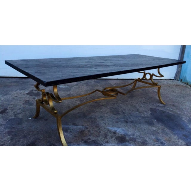 Gold Gilded Coffee Table: Slate Top Gold Gilded Coffee Table