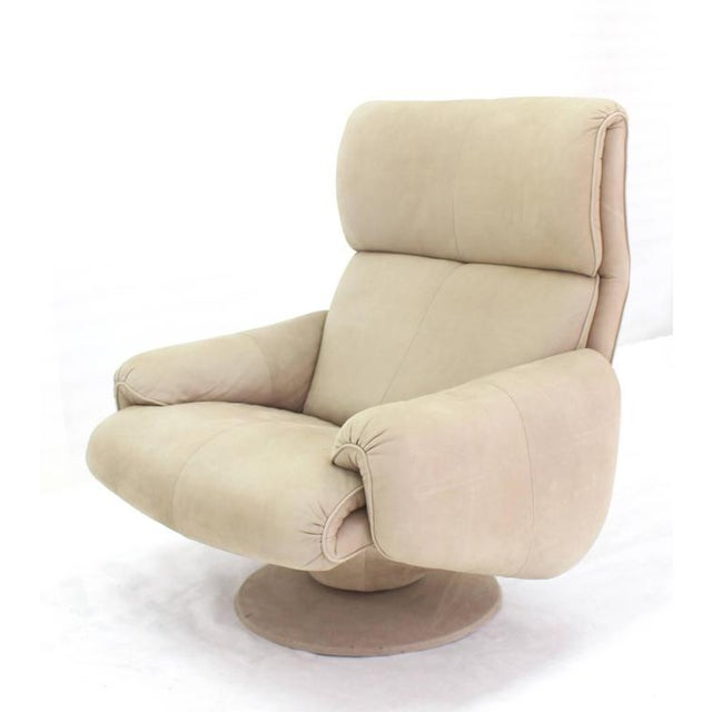 Beige Suede Leather Lounge Chair with Matching Ottoman For Sale - Image 9 of 10