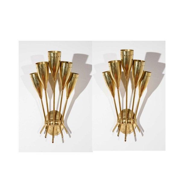 5 Arm Sconces Attributed to Stilnovo - A Pair For Sale - Image 10 of 10