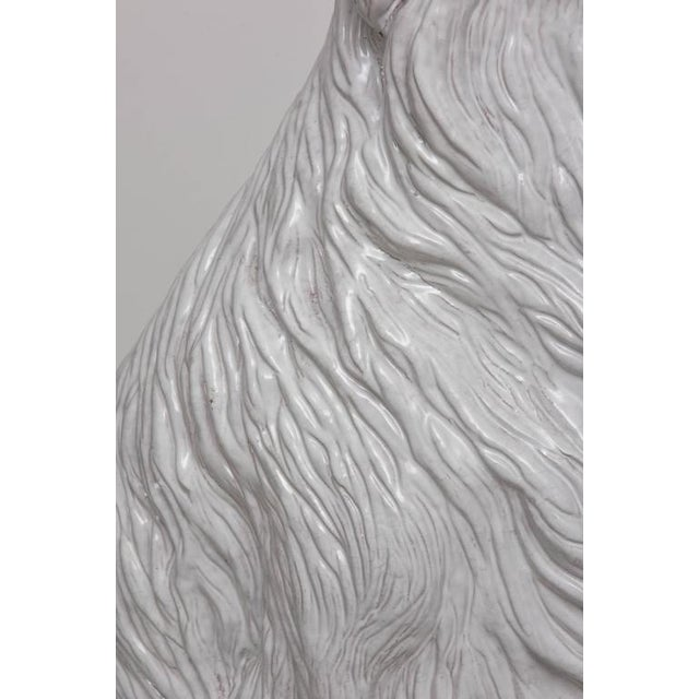 Life-Size Borzoi in Italian White Glazed Terracotta For Sale - Image 9 of 10