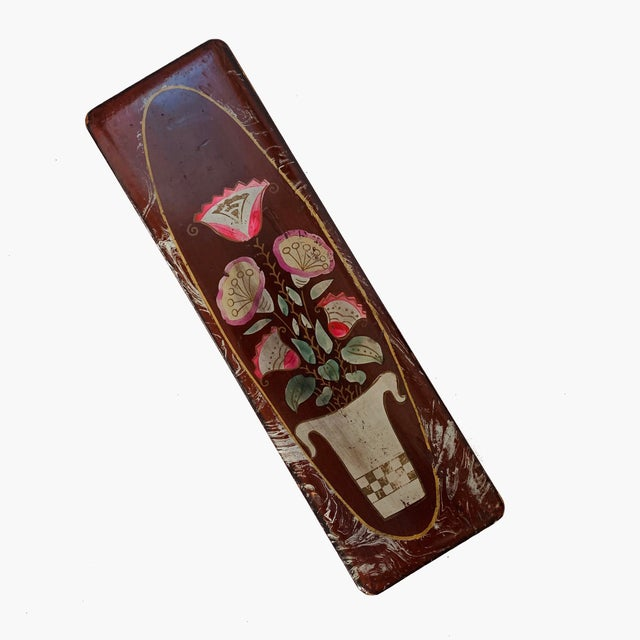 Beautiful vintage hand painted lacquer hinged gloves / jewelry / Pencils wooden box with a floral pattern. Very decorative...