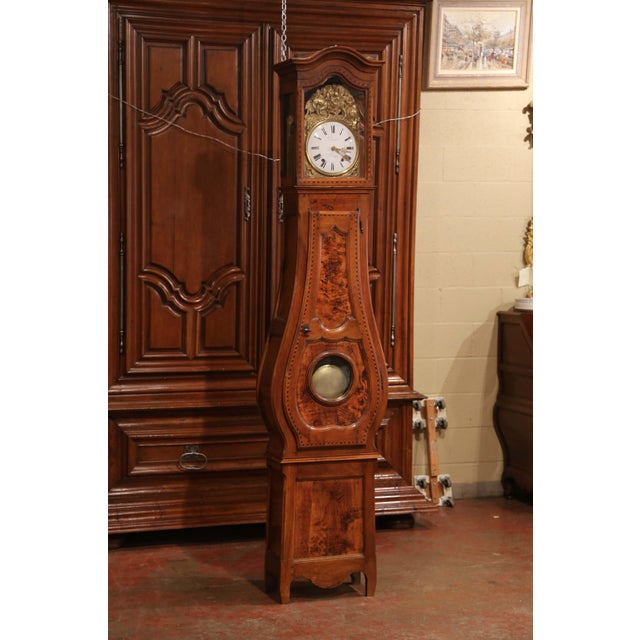 Late 18th Century French Louis XV Carved Burl Walnut Tall Case Clock From Lyon For Sale - Image 9 of 13