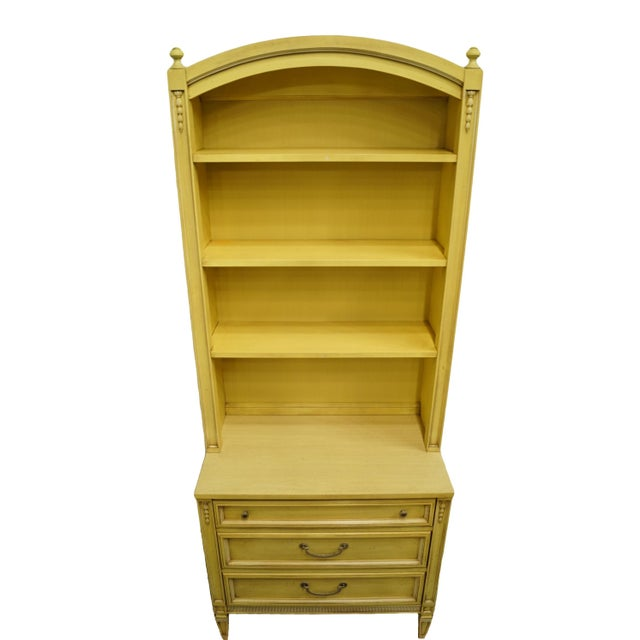 20th Century French Provincial Basic-Witz Cream / Yellow Painted 3-Drawer Chest With Bookcase For Sale - Image 4 of 12