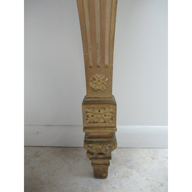 Marble Early French Victorian Marble Top Wall Hall Console Server Table For Sale - Image 7 of 13