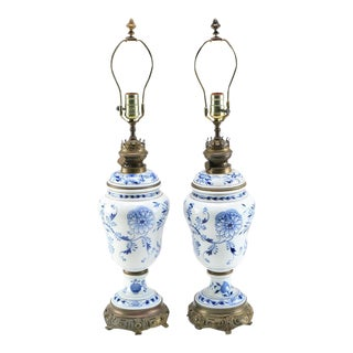 Meissen Blue and White Porcelain Lamps - a Pair