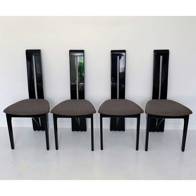 Contemporary 1990s Vintage Italian Pietro Costantini High Back Black Lacquer Dining Chairs- Set of 6 For Sale - Image 3 of 13