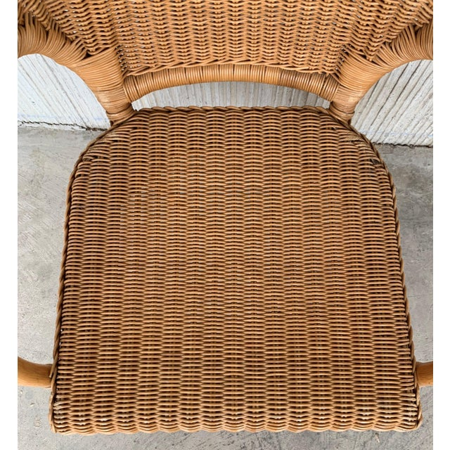 Mid 20th Century Midcentury Set of Six Bamboo and Rattan Dining Room Armchairs For Sale - Image 5 of 13