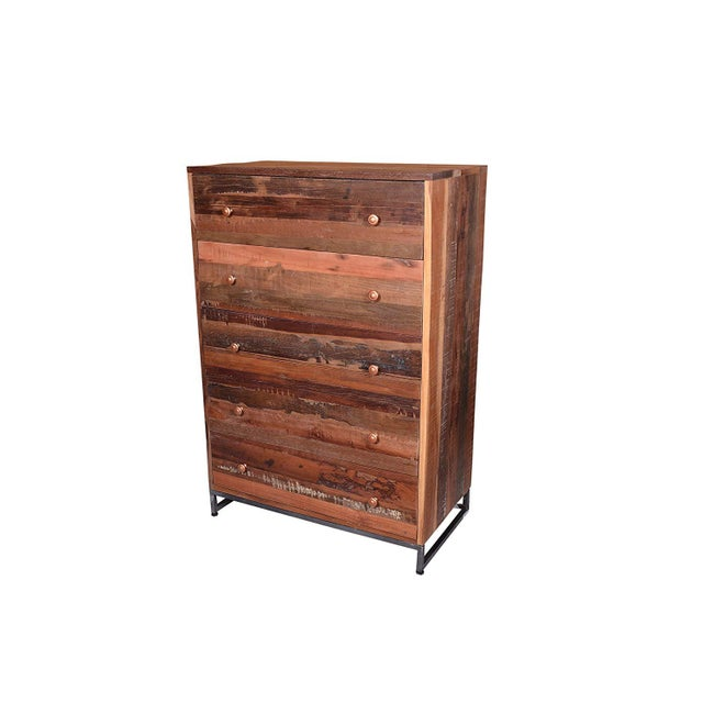 A beautiful rustic 5 drawer chest, handcrafted with precision, by Designe Gallerie. The natural finish on this piece...