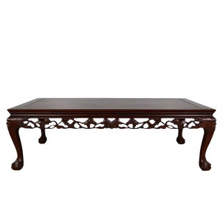 1960s Vintage Chinese Rosewood Fruit Motif Coffee Table For Sale