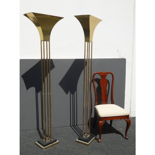 Mid-Century Art Deco Brass Plated Torchiere Floor Lamps - a Pair - Image 6 of 11