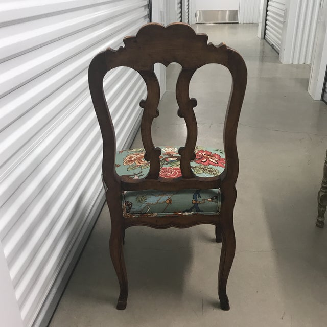 French Walnut Chairs With Hunt Scene Upholstery - a Pair For Sale In San Antonio - Image 6 of 7
