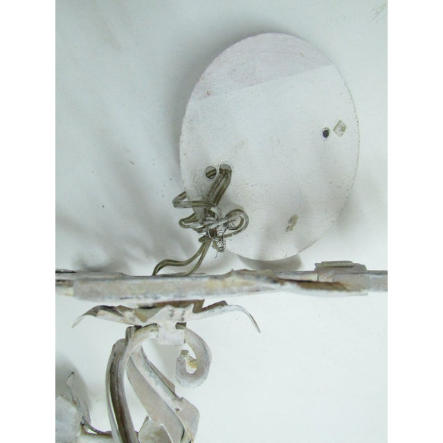 Vintage Whitewashed Metal Hardwired Decorative Sconces - A Pair For Sale - Image 4 of 5
