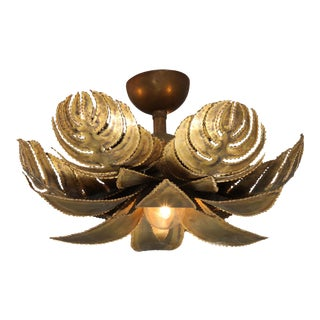 Maison Jansen Regency Brass Palm Chandelier For Sale