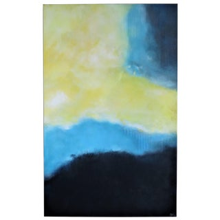 Celestial, Blue/Yellow Abstract Framed Original by C. Damien Fox 2019 For Sale