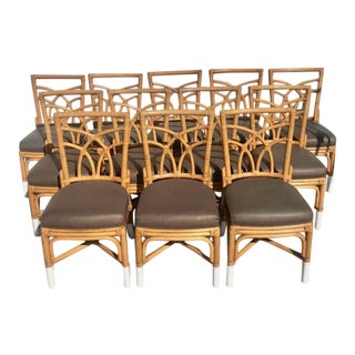 Twelve Vintage Bamboo, Leather & Metal Chairs For Sale