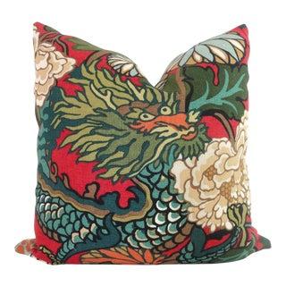 "20"" x 20"" Schumacher Chiang Mai Dragon Pillow Cover For Sale"