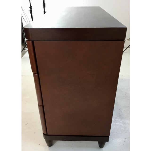 Wood Modern Bungalow 5 Brown Leather and Wood Montclair Three Drawer Chest of Drawers For Sale - Image 7 of 8