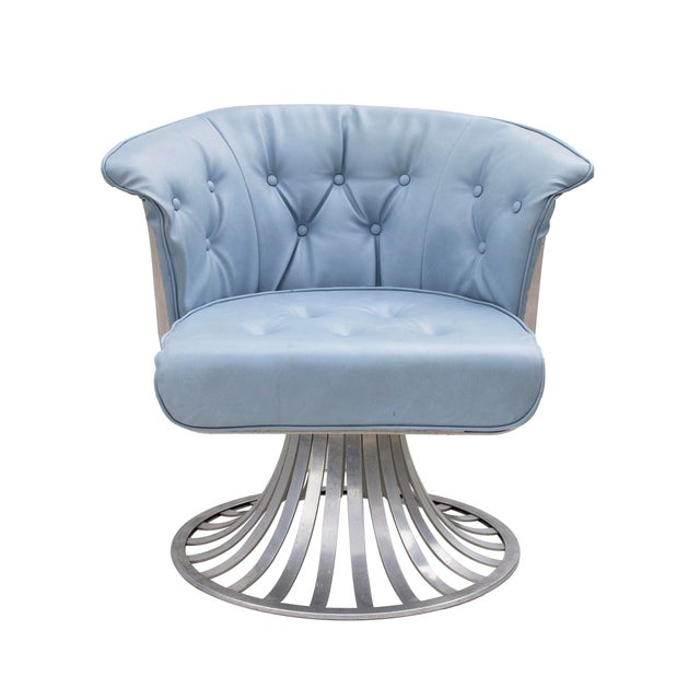Blue Set of 4 Aluminum Tulip Chairs by Russsell Woodard For Sale - Image 8 of 10