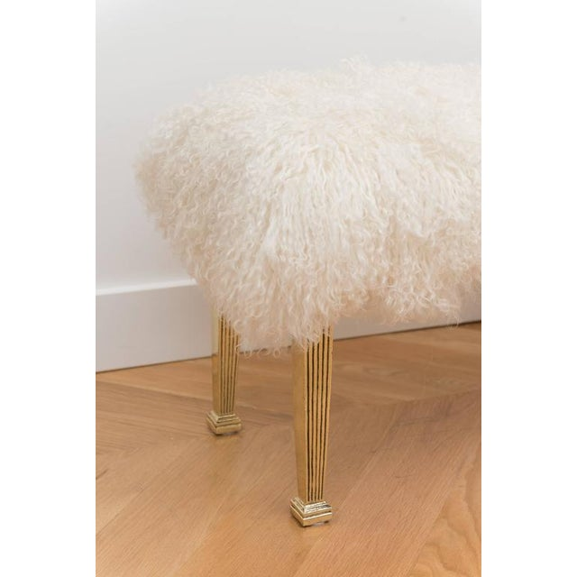 Modern Polished Brass and Mongolian Wool Bench For Sale - Image 3 of 6