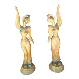 Vintage 1950's Carved Oriental Females Figures - a Pair For Sale