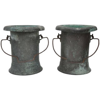 19th Century Pair of Verdigris Vessels From France For Sale