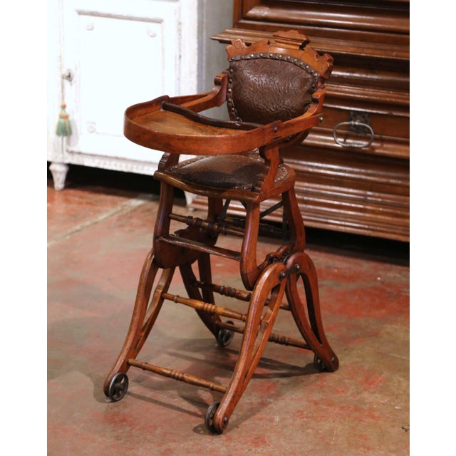 19th Century English Carved Walnut and Leather Adjustable High Chair Rocker For Sale - Image 13 of 13