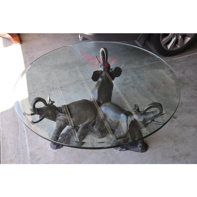 Gold Three Elephant Bronze Sculpture Base Coffee Table With Glass Top For Image 8