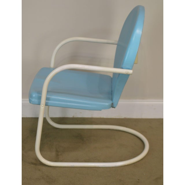Sky Blue Art Deco Style 1940's Vintage Pair Metal Patio Lawn Chairs For Sale - Image 8 of 13