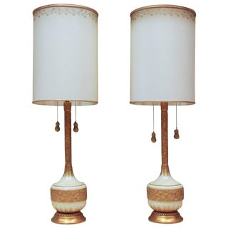 Circa 1950 Hollywood Regency Plaster & Gilt Lamps - A Pair