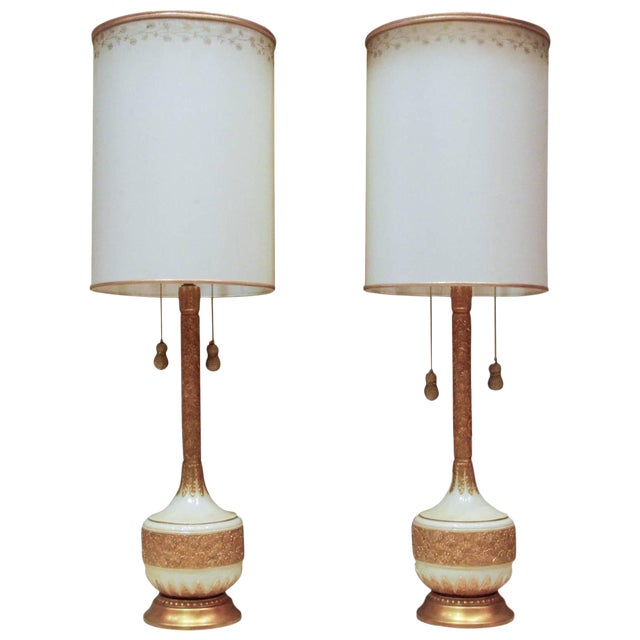 Circa 1950 Hollywood Regency Plaster & Gilt Lamps - A Pair For Sale